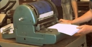 copy machine with purple ink